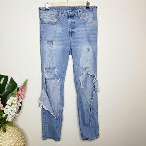 H&M &Denim Boyfriend Low Waist Destroyed Jeans